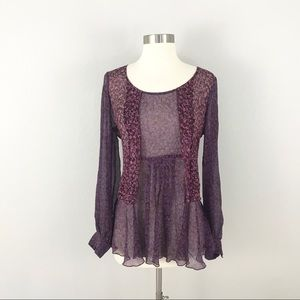 Cabi Medium Silk Blouse Sonnet Top Purple Floral